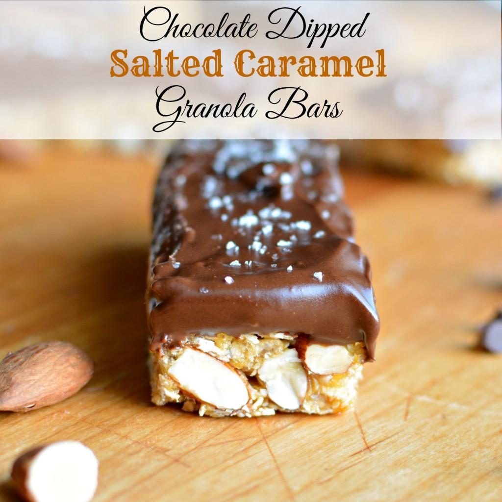 Chocolate Dipped Salted Caramel Granola Bars | A baJillian Recipes